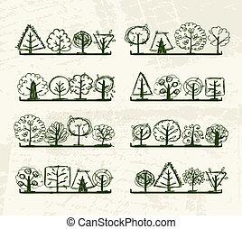 seu, árvores, prateleiras, esboço, desenho