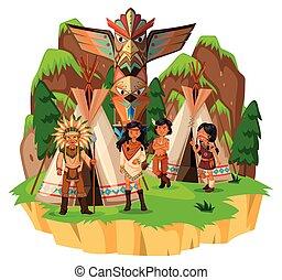 seu, índios americanos, nativo, barracas