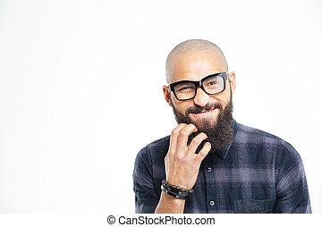 seu, óculos, americano, homem, africano, arranhando, barba, bonito