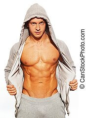 seu, abdominal, mostrando, cinzento, músculos, hoodie, homem, bonito