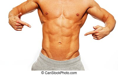 seu, abdominal, sporty, mostrando, muscular, músculos, homem