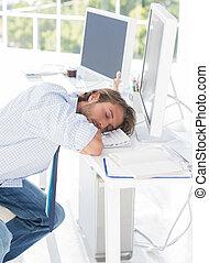 seu, adormecido, desenhista, escrivaninha