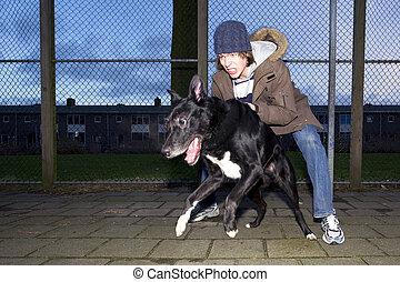seu, afastado, vicioso, cão, pular, proprietário