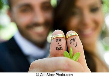 seu, anéis, noivo, casório, dedos, noiva, pintado