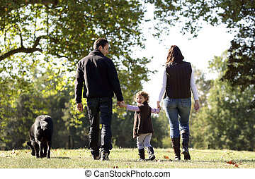 seu, andando cachorro, família