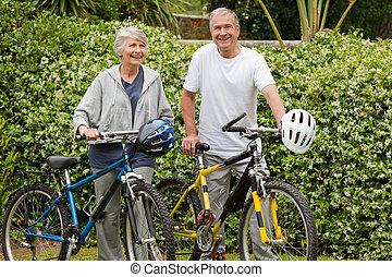 seu, andar, bicicletas, par, maduras