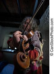 seu, antigas, artista, pregos, música, sujo, violino, desfrutando, jogos, ele