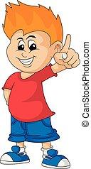 seu, apontando dedo, rubbing, vetorial, caricatura, ilustração, enquanto, hips., menino