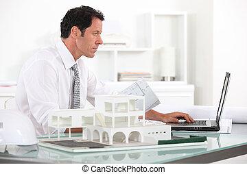 seu, arquiteta, trabalhando escritório
