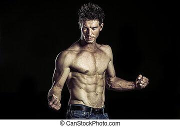 seu, arte, atleta, luta, marcial, posição, levando