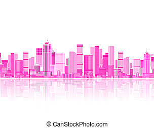 seu, arte, fundo, seamless, cityscape, projeto urbano