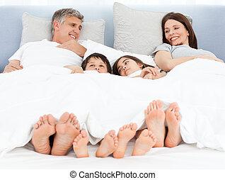 seu, baixo, mentindo, cama, família