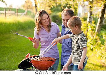 seu, bbq, jardim, família, tendo
