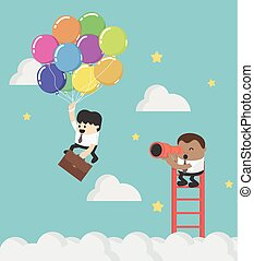 seu, bom, telescópio, negócio, sucedido, concept., idéia,...