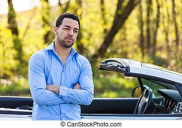 seu, car, motorista, jovem, sentada, americano, latim, novo, lado