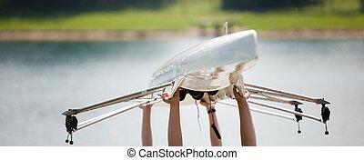 seu, carregar, rowers, bote