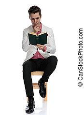 seu, cativado, interessante, sentada, elegante, romance, homem