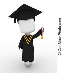 seu, cima, graduado, alto, segurando, medalha