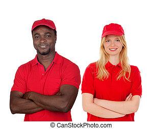 seu, colegas trabalho, uniforme vermelho