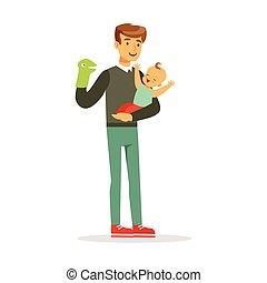 seu, coloridos, pai, ilustração, bebê, vetorial, fantoche, divertimento, brinquedo, adorável, tendo