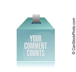 seu, comentário, counts., caixa sugestão