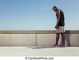 seu, corrida, obtendo, muscular, passagem, pronto, homem