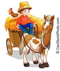 seu, costas, carreta, agricultor, montando, galinha