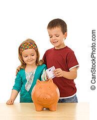 seu, crianças, dinheiro saving