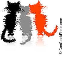 seu, cute, desenho, três, gatinhos