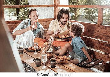 seu, dar, pai, filho, alimento, amando