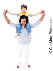 seu, dar, passeio, pai, filho, piggyback, feliz
