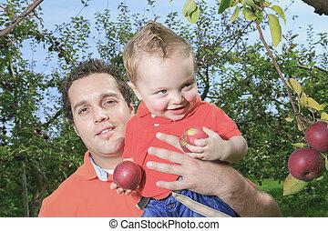 seu, dar, passeio, pai, filho, piggyback
