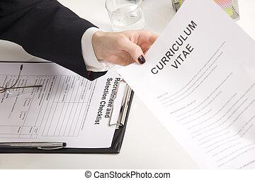 seu, dela, retomar, dar, entrevistador, entrevista trabalho,...