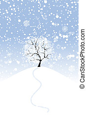 seu, desenho, inverno árvore, colina
