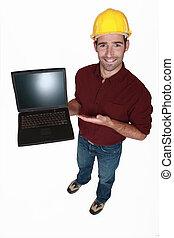 seu, desligado, mostrando, Novo,  tradesman,  laptop
