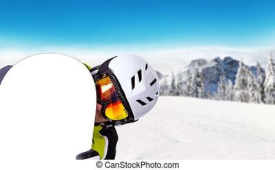 seu, desligado, snowboarder, snowboard, piste, segurando