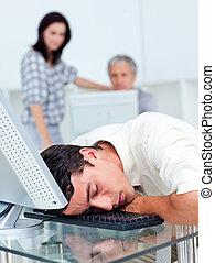 seu, dormir, escrivaninha, homem negócios, esvaziado