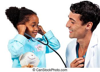 seu, doutor, estetoscópio, sorrindo, paciente, tocando