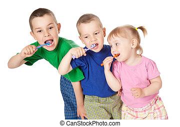 seu, escova, crianças, dentes