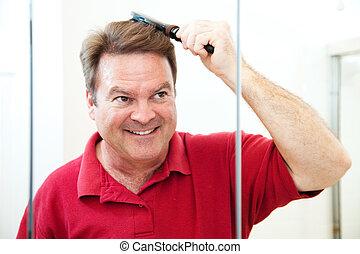 seu, escovas, cabelo, maduras, bonito, homem