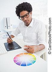seu, escrivaninha, trabalhando, hipster, desenhista