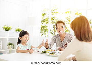 seu, esposa, cima, jantar, polegares, gostosa, marido, dá