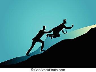 seu, esvaziado, empurrar, uphill, amigo, homem