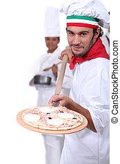 seu, exibindo, fabricante, pizza