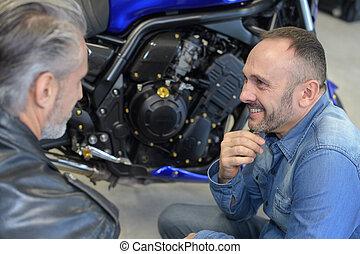 seu, feliz, mecânico, garagem, macho, cliente