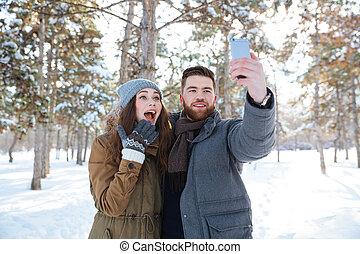 seu, foto, selfie, ao ar livre, namorada, fazer, homem