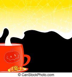seu, fundo, copo, bebida, quentes, teia, escuro, text., denominado, dia das bruxas, aranha
