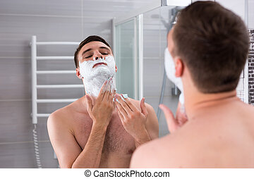 seu, gel, jovem, rosto, suje, homem, raspar