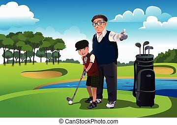 seu, golfe, neto, avô, ensinando, tocando