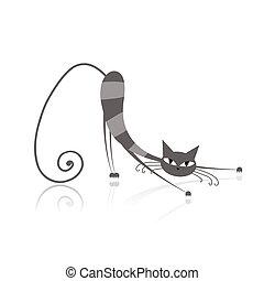 seu, gracioso, gato cinzento, desenho, listrado